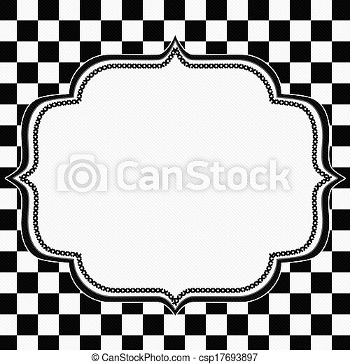Black And White Checkered Frame With Embroidery Background With