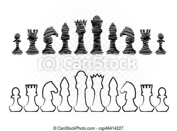 black and white chess - csp46414227