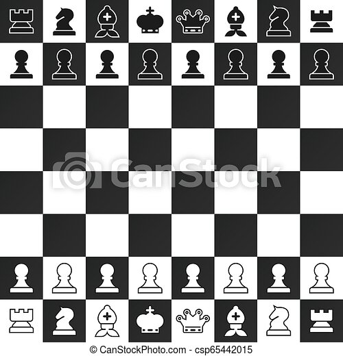 Black and White Chess Pieces on Chessboard Vector Design. Strategy Game Symbol. - csp65442015