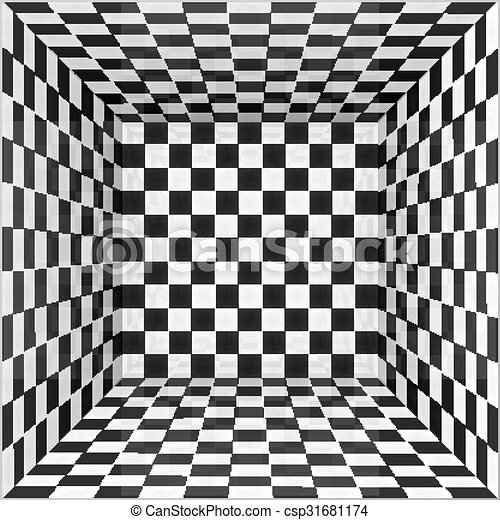 Black and white chessboard walls room background - csp31681174