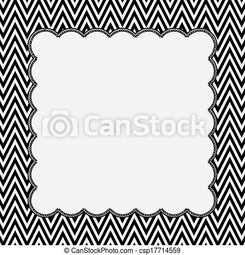 Black and white chevron frame with embroidery background csp17714559
