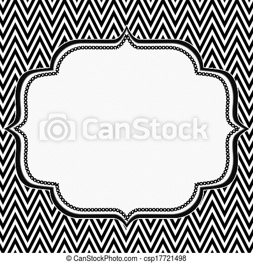 Black and white chevron frame with embroidery background csp17721498