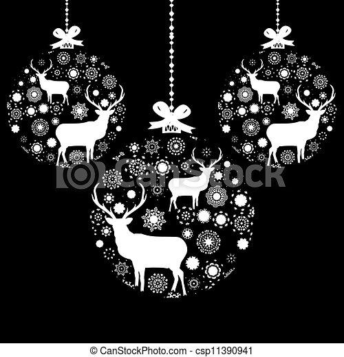 Black And White Christmas Ball EPS 8