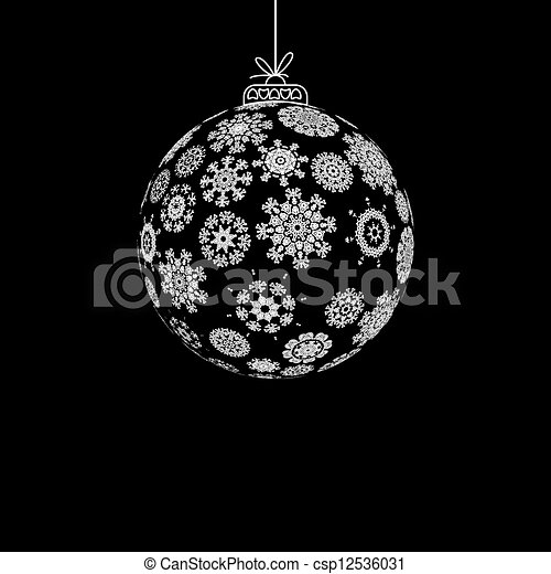 Black and white christmas ball eps8 csp12536031
