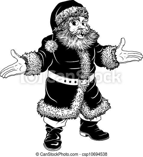 black and white christmas santa claus csp10694538 - White Santa Claus
