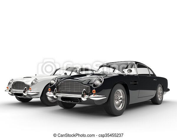 Black and white classic vintage car - csp35455237