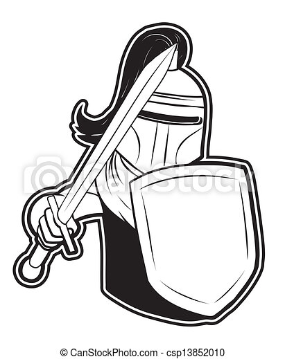 black and white clipart knight - csp13852010