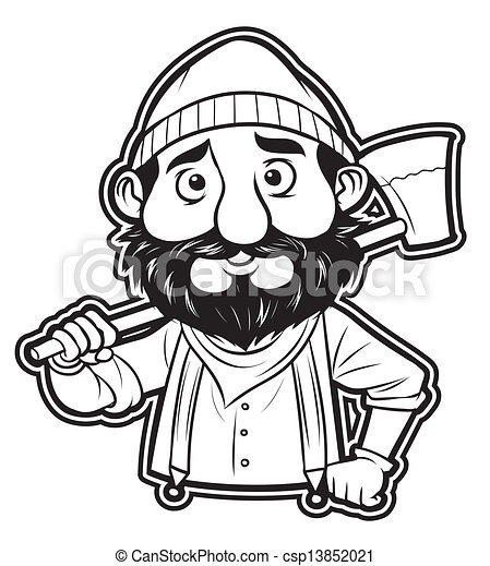 black and white clipart lumberjack - csp13852021