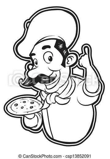 black and white clipart pizza chef - csp13852091