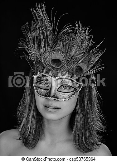 92ef829ae8ce Black and white close-up portrait of a beautiful green-eyed woman in ...