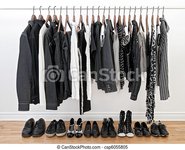 Black and white clothes for man and woman - csp6055805