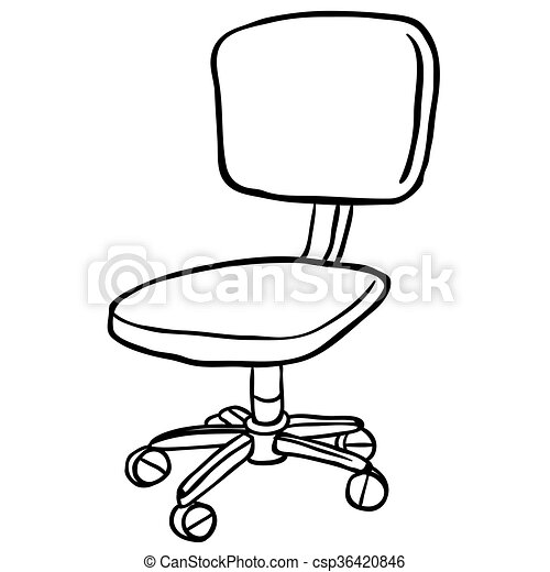 simple chair drawing. vector - black and white computer chair simple drawing