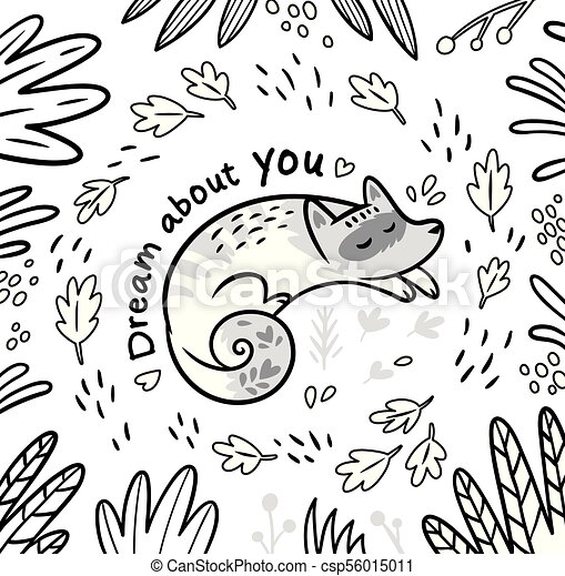 Black and white contour card with white sleeping fox in cartoon style in  the forest  Vector illustration