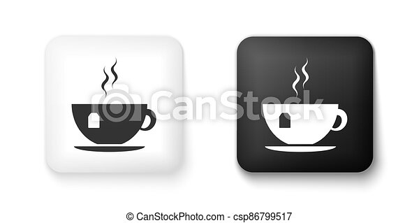 Black and white Cup with tea bag icon isolated on white background. Square button. Vector - csp86799517