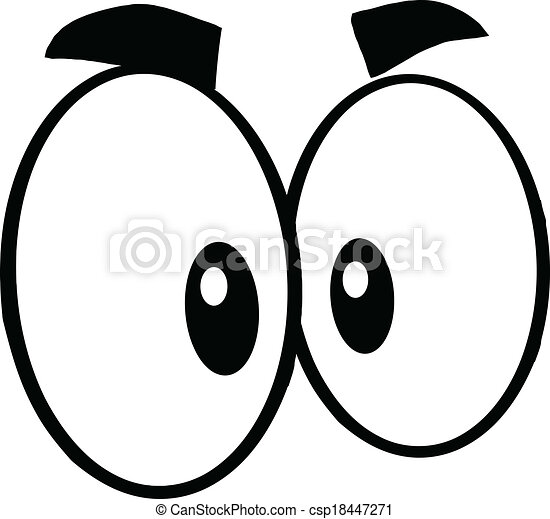 black and white cute cartoon eyes illustration isolated on rh canstockphoto com