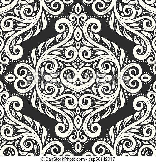black and white damask vector seamless vector clip art csp56142017