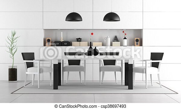 Black And White Dining Room With Table Chairs And Niche With Objects 3d Rendering Canstock