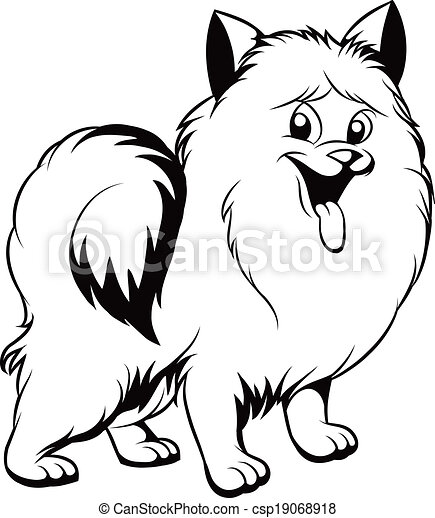 Black and white illustration of a cute dog