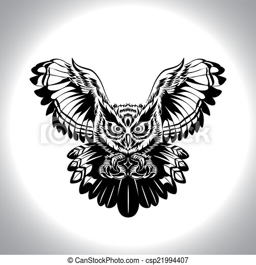 Black and white drawing owl csp21994407