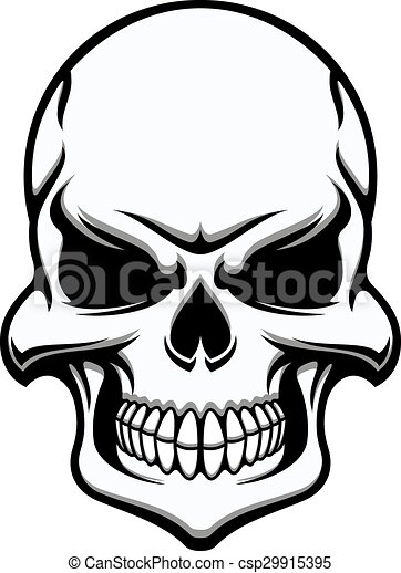 Black and white eerie human skull, eerie frontal view for halloween ...
