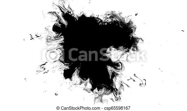Black and white effect with a spreading drop of ink on a white background HD