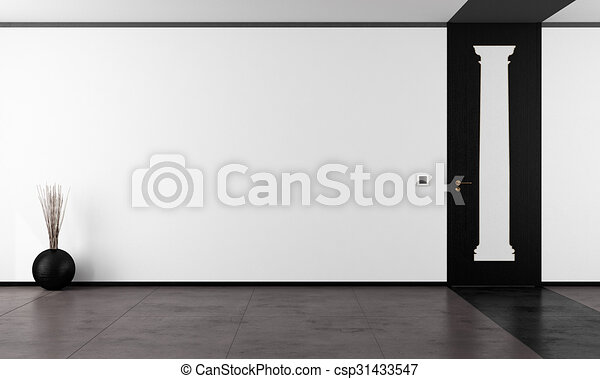 Black and white empty room - csp31433547