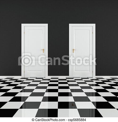 black and white empty room - csp5685884