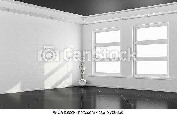 Black and white empty room - csp19786368
