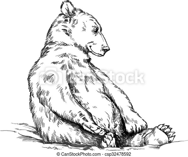 black and white engrave isolated vector bear - csp32478592