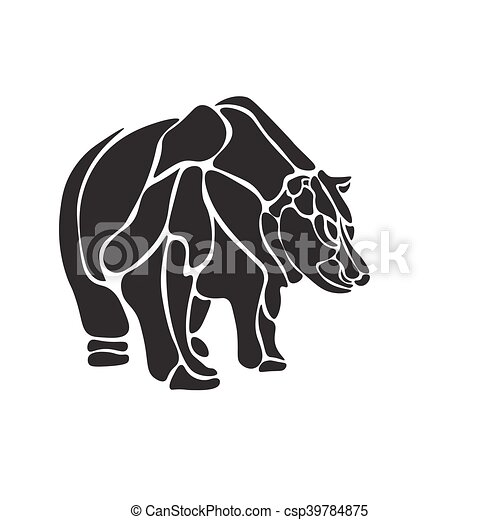 black and white engrave isolated vector bear - csp39784875