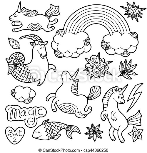 Black and white fashion patch badge elements in cartoon 80s-90s comic style. Set modern trend doodle sketch. - csp44066250