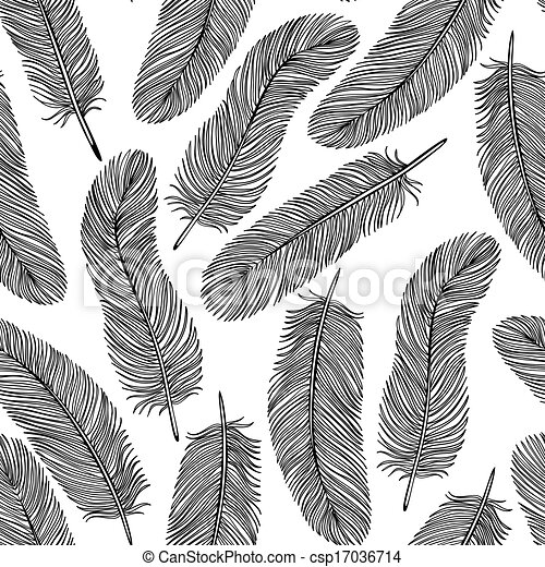 black-and-white Feather seamless background. - csp17036714