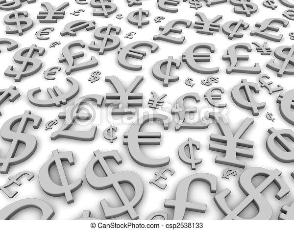 Black and white financial symbols background. 3d rendered illustration - csp2538133