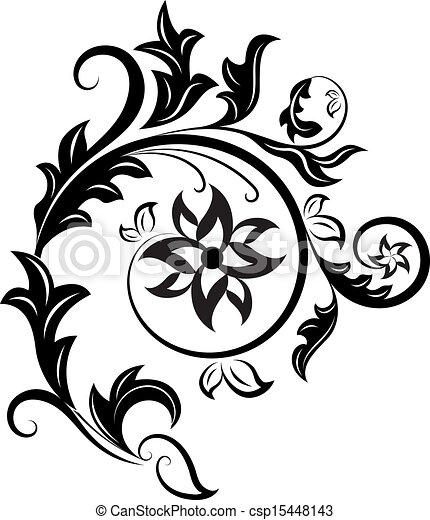 Black And White Floral Design Element Isolated On White Background