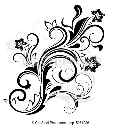 Black and white floral design element isolated on white. - csp15261936