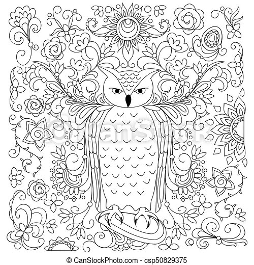 black and white floral owl for adult coloring - csp50829375