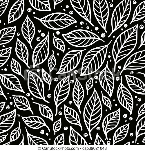 Vector Seamless Pattern Of Leaves On A Black Background Black And