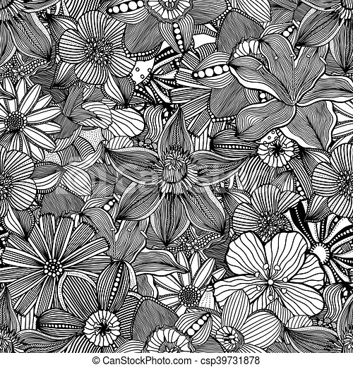 Seamless pattern black and white flower backgroundctor black and white flower background csp39731878 mightylinksfo