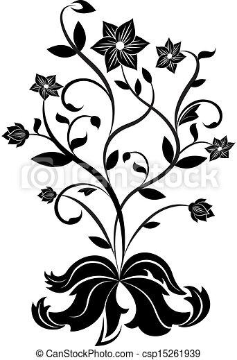 Black And White Flower Design Element