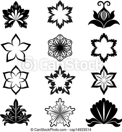 Black And White Flower Design Elements Vector Set
