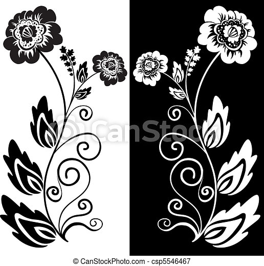 Black And White Flower Set Of Two Black And White Hand Drawn Flowers