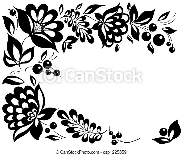 black-and-white flowers and leaves. Floral design element in retro style - csp12258591