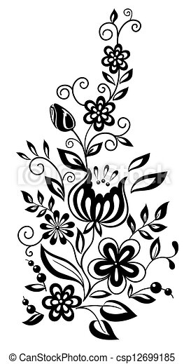 black-and-white flowers and leaves. Floral design element in retro style - csp12699185