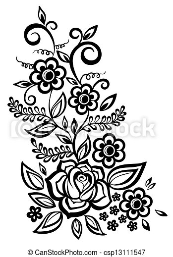 Black-and-white flowers and leaves  - csp13111547