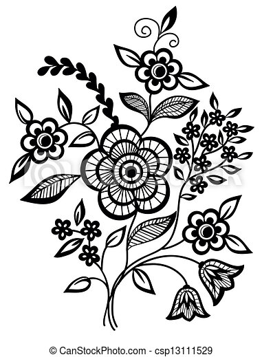 Black-and-white flowers and leaves - csp13111529