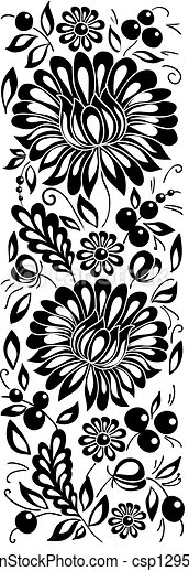 black-and-white flowers and leaves. Floral design element in retro style - csp12955570
