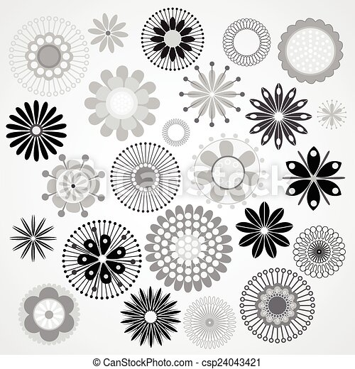 Vector illustration of a black and white flowers vector illustration black and white flowers csp24043421 mightylinksfo