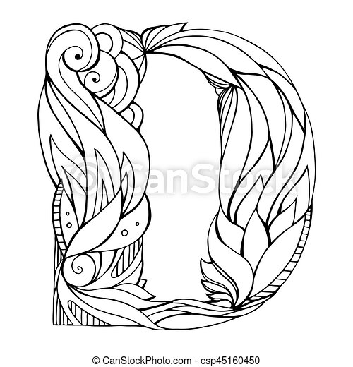 Black And White Freehand Drawing Capital Letter D With Floral Doodle