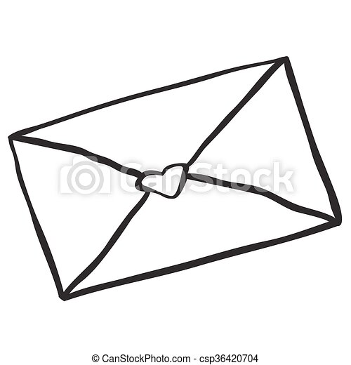 Black And White Freehand Drawn Cartoon Love Letter