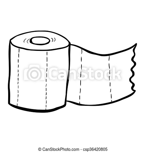 Black And White Freehand Drawn Cartoon Toilet Paper Vector